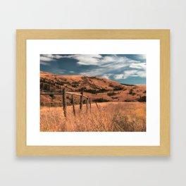 Cattle Fence in the Desert Framed Art Print