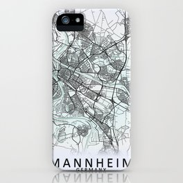 Mannheim, Germany, White, City, Map iPhone Case