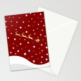 Red Christmas Santa Claus Stationery Cards