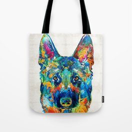 Colorful German Shepherd Dog Art By Sharon Cummings Tote Bag