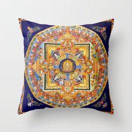 Buddhist Mandala 49 Green Tara Throw Pillow
