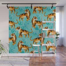 Yellow Tigers on Turquoise Wall Mural