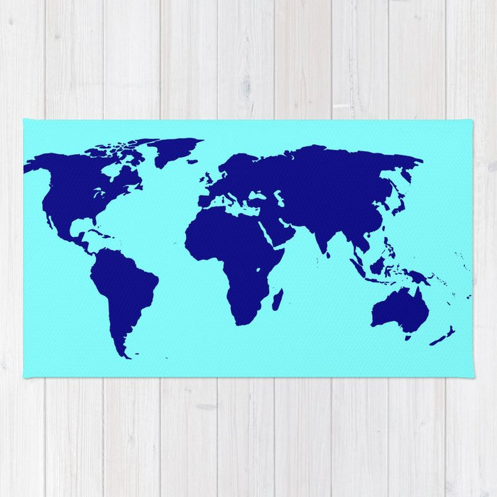 World Silhouette In Blue Rug