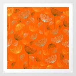 Mid-Century Modern Art Umbrella Flowers 1.4 Art Print