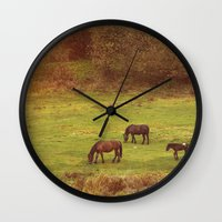 horses Wall Clocks featuring Horses by SensualPatterns