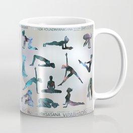 Yoga Asanas / Poses Sanskrit Word Art  Labradorite on pearl Coffee Mug