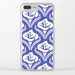 Calla Lily Pattern Blue Clear iPhone Case
