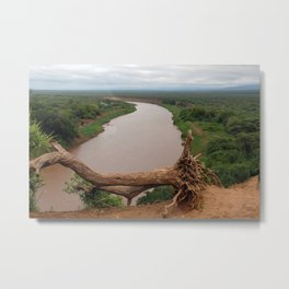 Omo River Valley Landscape Fallen Tree, Ethiopia, Africa Metal Print