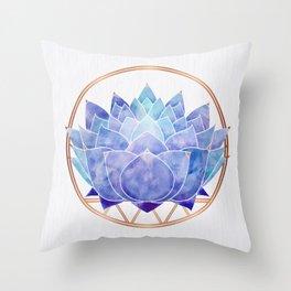 Violet Zen Lotus Throw Pillow