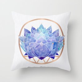 Violet Zen Lotus Throw Pillow