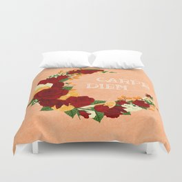 Crescent Bloom | Red roses and oranges Duvet Cover