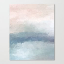 Blush Pink Mint Sky Baby Blue Abstract Ocean Sky Sunrise Wall Art Water Clouds Painting Print Canvas Print