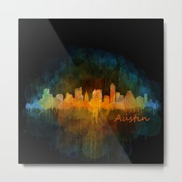 Austin Texas, City Skyline, watercolor  Cityscape Hq v4 Dark Metal Print