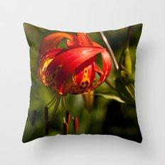 Firery Lily Throw Pillow