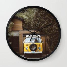 Yellow Van Ready For Road Wall Clock