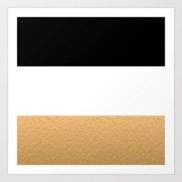 Black White Gold Color Blocks Art Print