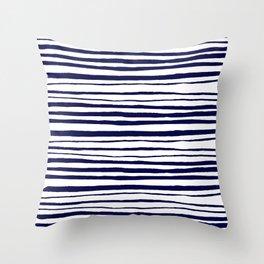 Blue- White- Stripe - Stripes - Marine - Maritime - Navy - Sea -Beach - Summer - Sailor 3 Throw Pillow
