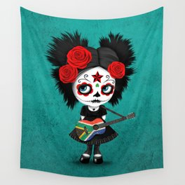 Day of the Dead Girl Playing South African Flag Guitar Wall Tapestry