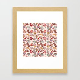 Hand drawn confectionery croissant Cupcake candy ice cream cake donut and coffee Framed Art Print