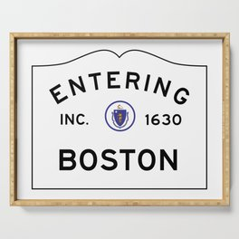 Entering Boston - Commonwealth of Massachusetts Road Sign Serving Tray