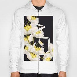 White Flowers On A Black Background #decor #buyart #society6 Hoody