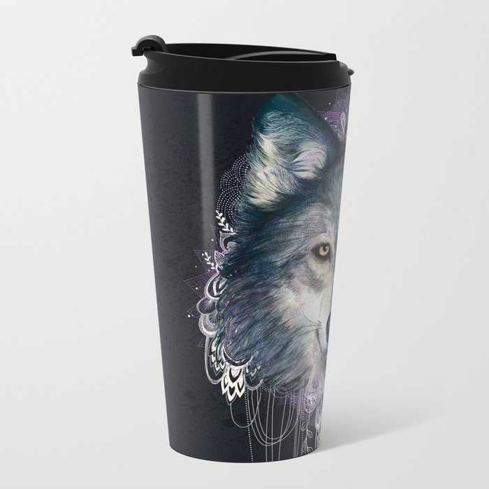 Wolf Metal Travel Mug