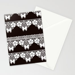 White lace Butterfly on a dark brown background . Stationery Cards