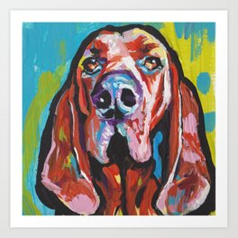 Fun REDBONE COONHOUND Dog bright colorful Pop Art painting by Lea Art Print
