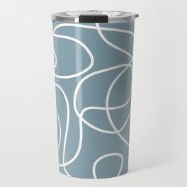 Doodle Line Art | White Lines on Dusty Blue Travel Mug