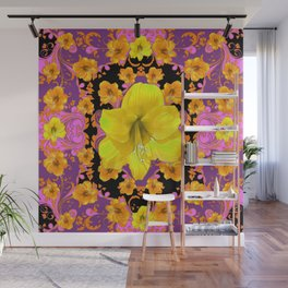 TROPICAL YELLOW & GOLD AMARYLLIS FLOWERS PATTERN ON Wall Mural
