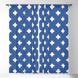 White Swiss Cross Pattern on Blue background Blackout Curtain