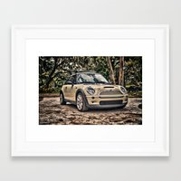 mini cooper Framed Art Prints featuring Mini Cooper by Naked Jimmy