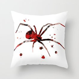 Black Widow Spider Watercolor Painting Throw Pillow