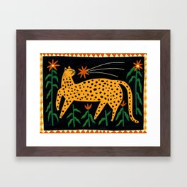 The Cat and the Shooting Star Framed Art Print