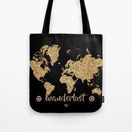 world map gold black wanderlust Tote Bag