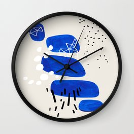 Fun Mid Century Modern Abstract Minimalist Phthalo Blue Stacked Pebbles Indigenous Art Wall Clock