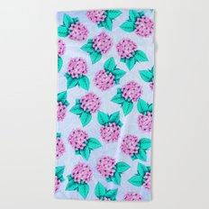 Floral Devotion Pink Flowers Design Beach Towel