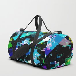 psychedelic geometric square pixel pattern abstract in blue yellow pink Duffle Bag