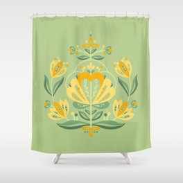 Nordic Green Rose Shower Curtain