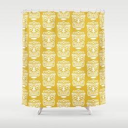Tiki Pattern Mustard Yellow Shower Curtain