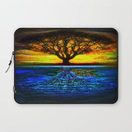 Duality Tree of Life Reflection Moon & Sun Day & Night Painting by CAP Laptop Sleeve