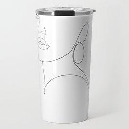 minimal line art - side glance II Travel Mug