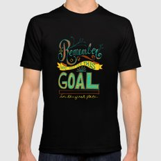 Remember why you set this goal in the first place - hand drawn typography motivational art Black Mens Fitted Tee MEDIUM