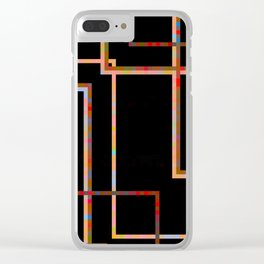 BORDERS - stark colourful line grid design on black Clear iPhone Case