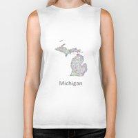 michigan Biker Tanks featuring Michigan map by David Zydd