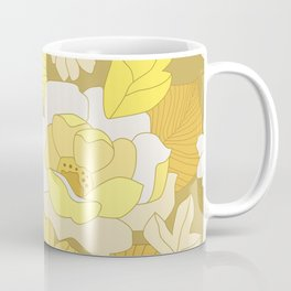 Yellow, Ivory & Brown Retro Flowers Coffee Mug