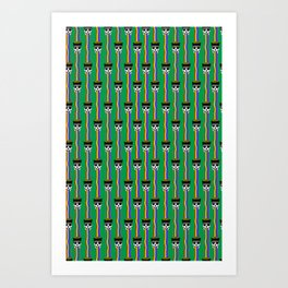 rainbow puking skulls on green Art Print