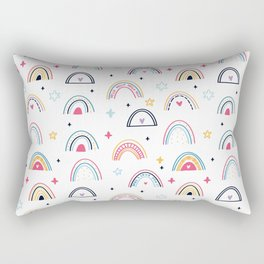 Happy Rainbow, Cute and Lovely Red Pink Heart and Baby Blue Gold Star Rectangular Pillow