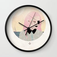 pirate Wall Clocks featuring pirate by Alba Blázquez