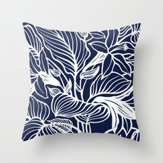 Indigo Navy Blue Floral Throw Pillow